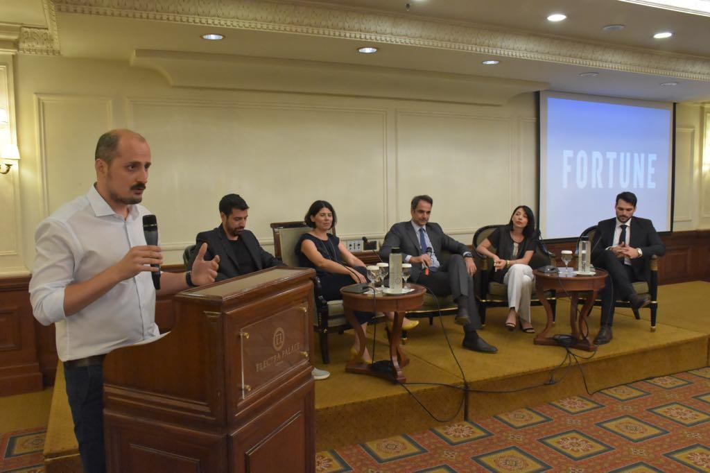 Ο Αιμίλιος Χαλαμανδάρης της Innoetics, η Χριστίνα Στριμπάκου της Lia, o Κυριάκος Μητσοτάκης, η Αθηνά Πολίνα Ντόβα της Owiwi και ο Φάνης Κουτουβέλης της Intale - Τη συζήτηση συντόνισε ο Τάσος Ζάχος, Editor in Chief του Fortune.
