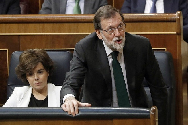 epa06777591 Spanish Prime Minister, Mariano Rajoy, votes 'No' during the no-confidence motion vote at the Lower House in the Spanish Parliament in Madrid, Spain, 01 June 2018. Leader of Spanish Workers' Socialist Party (PSOE), Pedro Sanchez, has won the vote to unseat Rajoy as Prime Minister in the first successful no-confidence vote in the Spanish democracy with 180 'yes' votes of PSOE, Unided Podemos, PNV, ERC, PDeCAT, Compromis, EH-Bildu, and Nueva Canarias. Now, Sanchez will become the seventh Prime Minister of the Spanish democracy after being sworn-in by King Felipe VI in ceremony to be held in the upcoming days.  EPA/Javier Lizon