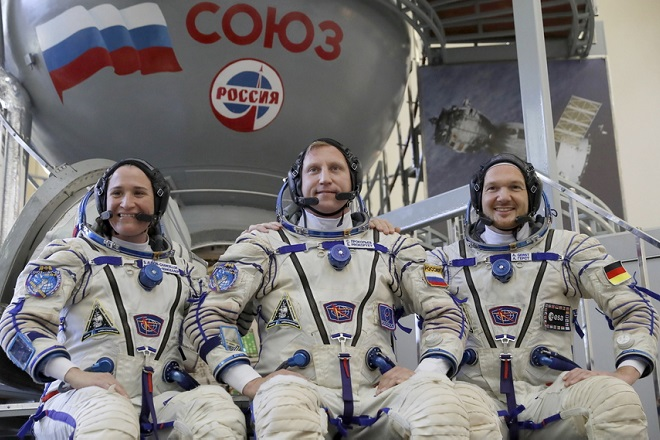 epa06727157 Members of the International Space Station expedition 56/57, NASA astronauts Serena M. Aunon-Chancellor(L), Roscosmos cosmonaut Sergey Prokopyev (C) and ESA astronaut Alexander Gerst (2n-R) attend final exams at the Russian cosmonaut training center in Star City outside Moscow, Russia, 11 May 2018. The launch of the mission is scheduled on 06 June from the Baikonur Cosmodrome in Kazakhstan.  EPA/SERGEI ILNITSKY