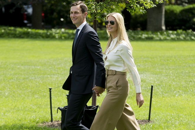 epa06779112 First daughter Ivanka Trump (R) and White House Senior Advisor Jared Kushner (L) walk across the South Lawn of the White House to join US President Donald J. Trump (not pictured) aboard Marine One en route to Camp David, in Washington, DC, USA, 01 June 2018.  EPA/MICHAEL REYNOLDS