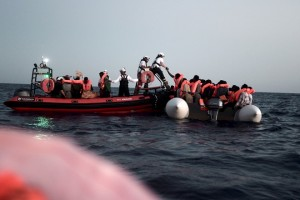 epa06800824 A handout photo made available by the NGO 'SOS Mediterranee' shows the sea rescue of a total of 629 migrants on 10 June 2018 (issued 11 June 2018). A total of 629 migrants were rescued and taken to the 'Aquarius' boat, chartered by NGOs 'SOS Mediterraneee' and 'Doctors without borders'. The ship was denied access to ports in Italy and Malta. Spain's Prime Minister, Pedro Sanchez, authorized on 11 June 2018 the landing of the ship at Valencia's port to avoid an humanitarian catastrophe.  EPA/Kenny Karpov HANDOUT HANDOUT/EDITORIAL USE ONLY/NO SALES HANDOUT EDITORIAL USE ONLY/NO SALES