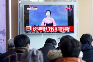 epa05147358 South Koreans watch a TV displaying a special broadcast of the North Korean Central Television (KCTV) showing North Korean senior anchorwoman Ri Chun-hui reporting on what it is said to be North Korea's success in placing the 'Kwangmyongsong-4' (shining star) satellite into orbit, at Seoul station, in Seoul, South Korea, 07 February 2016. North Korea launched a long-range rocket on 07 February 2016, just hours after South Korea's Defense Ministry said the reclusive country moved forward its time frame for the launch. The rocket was launched from a facility in north-western North Korea, South Korean media reported citing the South Korean military. North Korea has said the launch would send a satellite into orbit. South Korea and the United States believe that is a cover for a test of a ballistic missile, which is banned by multiple UN Security Council resolutions.  EPA/KIM HEE-CHUL