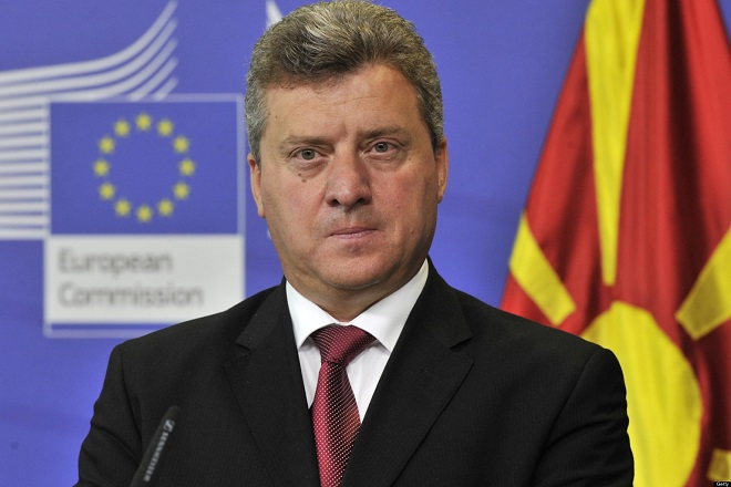Former Yugoslav Republic of Macedonia (FYROM) President Gjorge Ivanov and  EU enlargement commissioner give a press conference on September 4, 2012  after their talks at EU headquarters in Brussels. Macedonia was granted EU candidate status in 2005, but the start of the accession talks has been blocked ever since by Greece due to the name row.  Athens and Skopje have been at loggerheads over the right to the name Macedonia since the former Yugoslav republic proclaimed independence in 1991, as a northern Greek province has the same name.  AFP PHOTO / GEORGES GOBET        (Photo credit should read GEORGES GOBET/AFP/GettyImages)