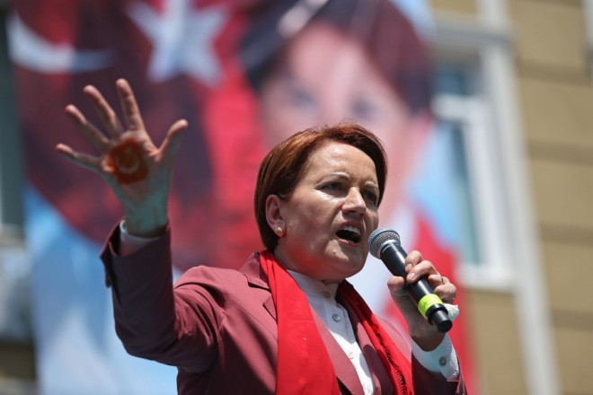 epa06790811 Meral Aksener, the leader and Presidential candidate of the Turkish opposition 'Good Party' (IYI) speaks during an election campaign, in Istanbul, Turkey, 07 June 2018. Turkish President Erdogan announced on 18 April 2018 that Turkey will hold snap elections on 24 June 2018. The presidential and parliamentary elections were scheduled to be held in November 2019, but government has decided the change the date following the recommendation of the Nationalist Movement Party (MHP) leader Devlet Bahceli.  EPA/ERDEM SAHIN