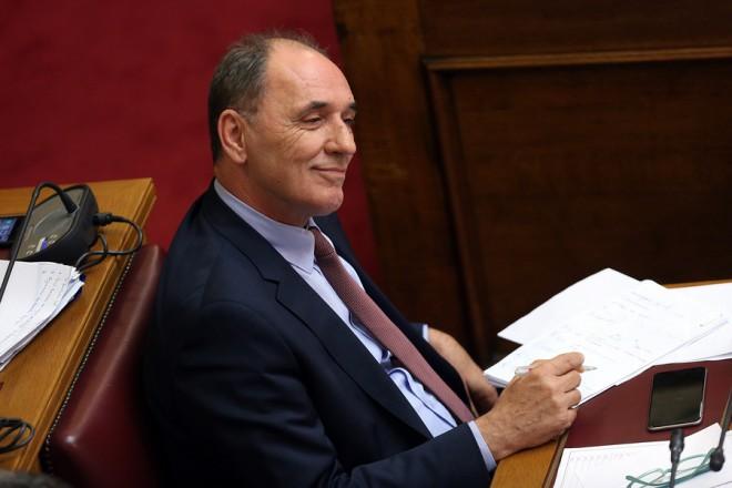 Ο υπουργός Ενέργειας και Περιβάλλοντος Γιώργος Σταθάκης στην ψήφιση επί της αρχής, των άρθρων και του συνόλου του σχεδίου νόμου του Υπουργείου Περιβάλλοντος και Ενέργειας «Διαρθρωτικά μέτρα για την πρόσβαση στο λιγνίτη και το περαιτέρω άνοιγμα της χονδρεμπορικής αγοράς ηλεκτρισμού», Τετάρτη 25 Απριλίου 2018. ΑΠΕ-ΜΠΕ/ΑΠΕ-ΜΠΕ/ΟΡΕΣΤΗΣ ΠΑΝΑΓΙΩΤΟΥ