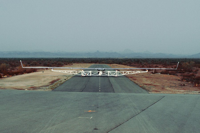 epa05435417 A handout photo provided by Facebook on 21 July 2016 shows 'Aquila', an Unmanned Aerial Vehicle (UAV) designed by Facebook, on the runway in Yuma, Arizona, USA, 28 June 2016. According to Facebook, Aquila is a solar-powered airplane that can be used to bring internet to millions of people in the hardest-to-reach places. When complete, Aquila will be able to circle a region up to 60 miles (96.5 km) in diameter, beaming connectivity down from an altitude of more than 60,000 feet (18,288 metres) using laser communications and millimeter wave systems. Aquila is designed to be hyper efficient, so it can fly for up to three months at a time. The aircraft has the wingspan of an airliner, but at cruising speed it will consume only 5,000 watts - the same amount as three hair dryers, or a high-end microwave.  EPA/FACEBOOK / HANDOUT  HANDOUT EDITORIAL USE ONLY/NO SALES