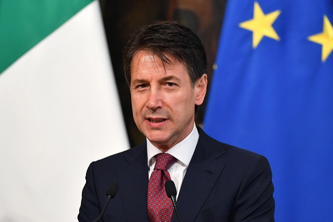 epa06799924 Italian Prime Minister Giuseppe Conte reacts during a joint press conference with Nato Secretary General Jens Stoltenberg (not pictured) after their meeting at Chigi Palace in Rome, Italy, 11 June 2018. Reports state that Jens Stoltenberg is on a two-day visit to Rome on which began on 10 June 2018 where he discussed preparations for the NATO Summit on 11-12 July 2018 in Brussels.  EPA/ETTORE FERRARI