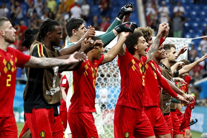 epa06859546 Players of Belgium celebrate after the FIFA World Cup 2018 round of 16 soccer match between Belgium and Japan in Rostov-On-Don, Russia, 02 July 2018.  (RESTRICTIONS APPLY: Editorial Use Only, not used in association with any commercial entity - Images must not be used in any form of alert service or push service of any kind including via mobile alert services, downloads to mobile devices or MMS messaging - Images must appear as still images and must not emulate match action video footage - No alteration is made to, and no text or image is superimposed over, any published image which: (a) intentionally obscures or removes a sponsor identification image; or (b) adds or overlays the commercial identification of any third party which is not officially associated with the FIFA World Cup)  EPA/FRANCIS R. MALASIG   EDITORIAL USE ONLY