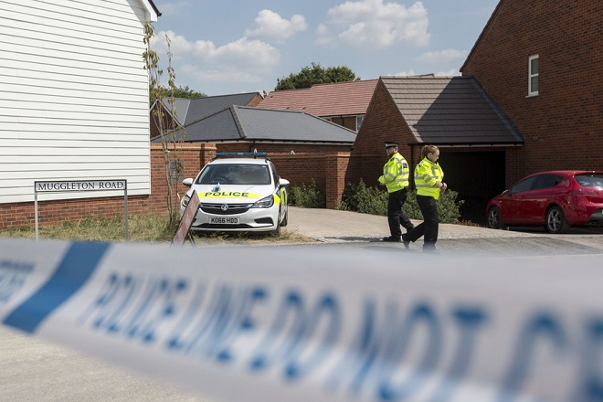 epa06865794 A general view of the cordon and the police outside of the house where Dawn S. and Charlie R. were found unconscious on Saturday night after allegedly being exposed to a nerve agent, in Amesbury, Britain, 05 July 2018.  EPA/RICK FINDLER