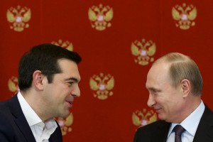 epa04695670 Russian President Vladimir Putin (R) and Greek Prime Minister Alexis Tsipras (C) attend a signing ceremony in the Kremlin in Moscow, Russia, 08 April 2015. Russian President Vladimir Putin said the leader of Greece did not ask for financial aid during an official visit, easing speculation that Athens might use its relations with Moscow to gain advantage in bailout talks with European creditors.  EPA/ALEXANDER ZEMLIANICHENKO / POOL