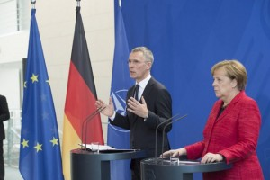 Joint press point with NATO Secretary General Jens Stoltenberg and German Chancellor Angela Merkel