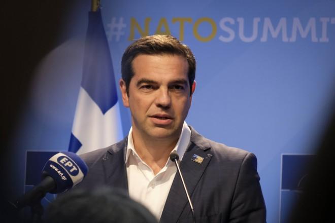 (Ξένη Δημοσίευση) Ο πρωθυπουργός Αλέξης Τσίπρας μιλάει σε συνέντευξη τύπου μετά το τέλος της Συνόδου του ΝΑΤΟ που πραγματοποιήθηκε στις 11 και 12 Ιουλίου 2018, στις Βρυξέλλες, Πέμπτη 12 Ιουλίου 2018. ΑΠΕ-ΜΠΕ/ΓΡΑΦΕΙΟ ΤΥΠΟΥ ΠΡΩΘΥΠΟΥΡΓΟΥ/Andrea Bonetti