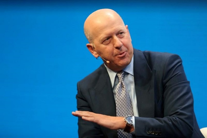 FILE PHOTO: David M. Solomon, President and Co-Chief Operating Officer of Goldman Sachs, speaks during the Milken Institute Global Conference in Beverly Hills, California, U.S., May 1, 2017. REUTERS/Lucy Nicholson/File Photo