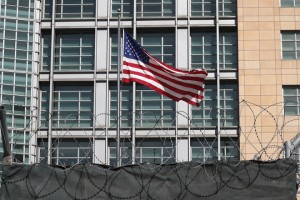 epa06636936 A flag of the USA waves in front of the Embassy of the United States of America in Moscow, Russia, 30 March 2018. In response to new US sanctions imposed on Russia over the Skripal poisoning case, Russia will expel 60 US diplomats and close the US Consulate General in St. Petersburg, Russian Foreign Minister Sergei Lavrov announced on 29 March 2018. The Russian authorities have given a two-day notice to the United States Consulate General in St. Petersburg to entirely vacate the building.  EPA/YURI KOCHETKOV