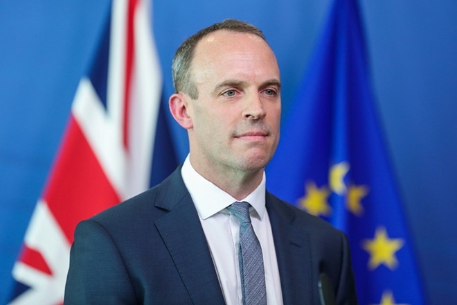 epa06898523 New British Government Brexit secretary Dominic Raab and EU's chief Brexit negotiator Michel Barnier (not pictured), hold a joint press conference at the European Commission in Brussels, Belgium, 19 July 2018. New British Government Brexit secretary Dominic Raab  has his first meeting in Brussels with EU's chief Brexit negociator Michel Barnier since taking office after the resignation of the former Brexit Secretary David Davis.  EPA/STEPHANIE LECOCQ