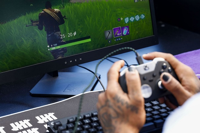 A gamer plays in Epic Games' Fortnite Battle Royale Celebrity Pro-Am at the E3 expo in Los Angeles on June 12.