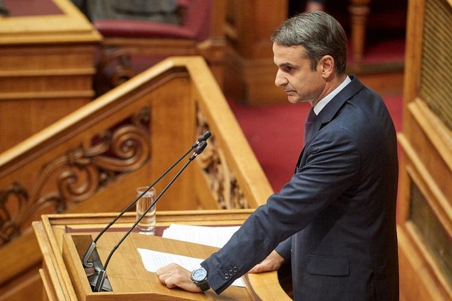"O πρόεδρος της Νέας Δημοκρατίας Κυριάκος Μητσοτάκης, μιλάει στη συζήτηση και ψήφιση επί της αρχής των άρθρων και του συνόλου του Σ/Ν του Υπουργείου Εσωτερικών "" Μεταρρύθμιση του θεσμικού πλαισίου της Τοπικής Αυτοδιοίκησης (πρόγραμμα Κλεισθένης) "" στην Ολομέλεια της Βουλής , Βουλή, Αθήνα, Πέμπτη 12 Ιουλίου 2018. ΑΠΕ-ΜΠΕ/ΓΡΑΦΕΙΟ ΤΥΠΟΥ ΝΔ/ΔΗΜΗΤΡΗΣ ΠΑΠΑΜΗΤΣΟΣ"