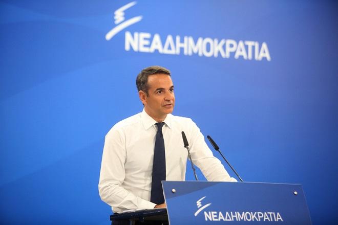 Ο πρόεδρος τη ΝΔ Κυριάκος Μητσοτάκης μιλά στους δημοσιογράφους  στη σημερινή συνέντευξη τύπου που παραχώρησε στα κεντρικά γραφεία του κόμματος σχετικά με την καταστροφική πυρκαγιά στην Ανατ. Αττική, Τρίτη 31 Ιουλίου 2018. ΑΠΕ-ΜΠΕ/ΑΠΕ-ΜΠΕ/Αλέξανδρος Μπελτές