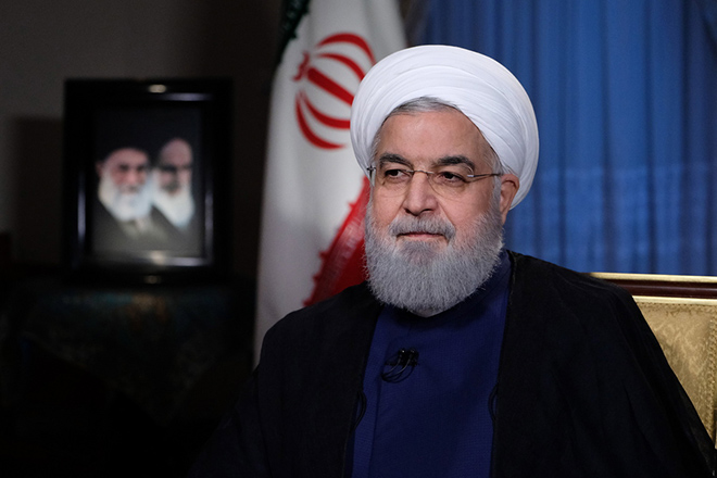 Iranian president Hassan Rouhani live TV interview in Tehran