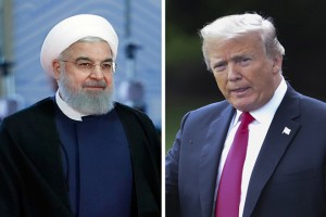 epa06931718 (FILE) - A combo photograph issued on 07 August 2018 shows Iranian President Hassan Rouhani (L) arriving for the Shanghai Cooperation Organization (SCO) summit 2018 summit in Qingdao, China, 10 June 2018, and US President Donald J. Trump (R) walking toward Marine One on the South Lawn of the White House in Washington, DC, USA, 31 July 2018. Media reported that following the re-imposing of sanctions by the US against Iran, Rouhani said that 'offering negotiations by US President Donald Trump and in a same time re-imposing sanction is meaningless, as saying so we can't trust US.  EPA/EPA-EFE /SERGEI CHIRIKOV, EPA-EFE/SHAWN THEW