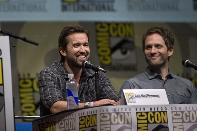 epa03796791 American actor, Glenn Howerton (R), chats with his colleague Rob McElhenney (L), with the FX television comedy series, 'It's Always Sunny in Philadelphia' during a panel presentation at the Comic-Con 2013 convention in San Diego, California, USA, 21 July 2013. Comic-Con International San Diego began in 1970 when a group of comics, movie and science fiction fans banded together to put on the first comic book convention in southern California.  EPA/DAVID MAUNG