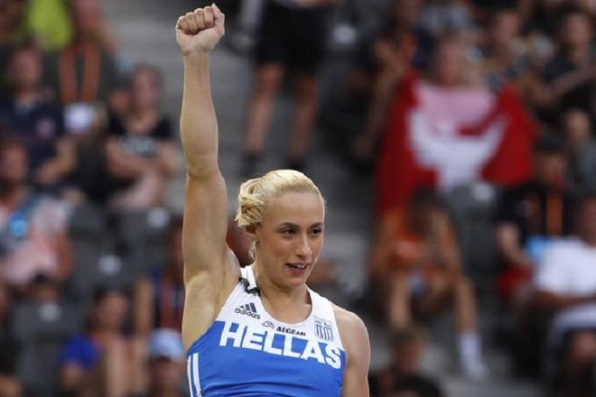 epa06938619 Nikoleta Kyriakopoulou of Greece competes in the Women's High Jump final at the Athletics 2018 European Championships, Berlin, Germany, 09 August 2018.  EPA/FELIPE TRUEBA