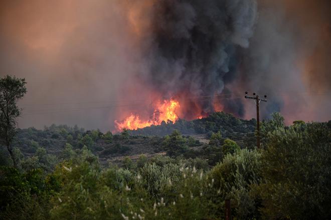 Μεγάλη φωτιά στη νότια Κέρκυρα απειλεί κατοικημένες περιοχές – Εκκενώθηκαν δύο χωριά