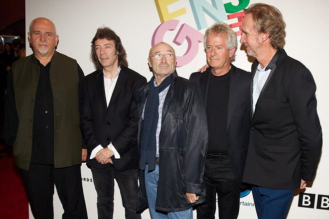 epa04428479 (L-R) British musicians Peter Gabriel, Steve Hackett, Phil Collins, Tony Banks and Mike Rutherford from the band Genesis attend the premiere screening of the documentary film 'Sum of the Parts' in London, Britain, 02 October 2014.  EPA/ANDREW COWIE