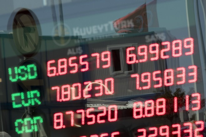 epa06947779 Currency exchange office board displays rates in Istanbul, Turkey, 13 August 2018. The Turkish central bank on 13 August 2018 said it was closely monitoring the lira's performance and seek counter-measures. The Turkish lira hit a new record low against the US dollar within the scope of an escalating feud with the US.  EPA/SEDAT SUNA