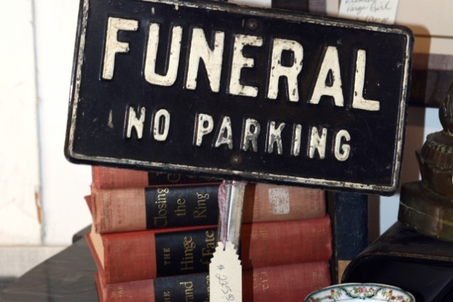 SANTA FE, NM - DECEMBER 28, 2017:  A vintage 'Funeral No Parking' sign sale in a Santa Fe, New Mexico, antique shop. (Photo by Robert Alexander/Getty Images)