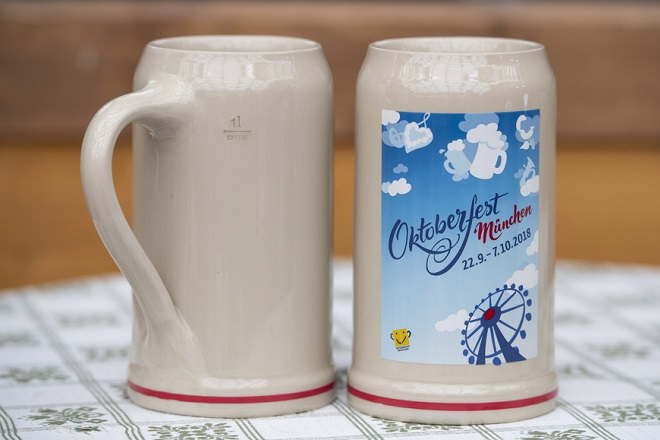 epa06983451 An official Oktoberfest beer mug for 2018 is presented on the Oktoberfest grounds in Munich, Germany, 30 August 2018. The World's largest beer festival will be held from 22 September to 07 October.  EPA/LUKAS BARTH-TUTTAS