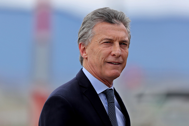 epa06933177 Argentine President Mauricio Macri arrives to the military base of Catam, in Bogota, Colombia, on 07 August 2018. Macri visit the country to attend the investiture of the President-elect of Colombia, Ivan Duque.  EPA/Leonardo Muñoz