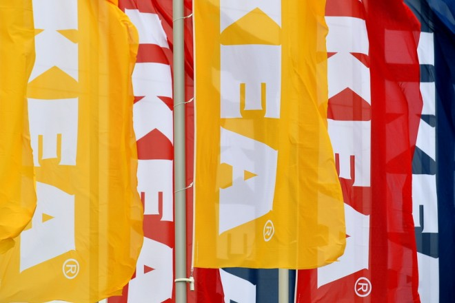 epa06937500 (FILE) - Flags of the Swedish home furnishing company IKEA fly in front of the IKEA store in Kaarst, Germany, 11 October 2017 (reissued 09 August 2018). IKEA on 09 August 2018 opened its very first store in India's Hyderabad.  EPA/SASCHA STEINBACH