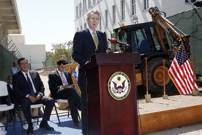 O πρέσβης των ΗΠΑ στην Ελλάδα Geoffrey Pyatt μιλάει στην τελετή για την έναρξη των έργων ανακαίνισης της Πρεσβείας των ΗΠΑ στην Αθήνα, Τετάρτη 5 Σεπτεμβρίου 2018. ΑΠΕ-ΜΠΕ/ΑΠΕ-ΜΠΕ/ΑΛΕΞΑΝΔΡΟΣ ΒΛΑΧΟΣ