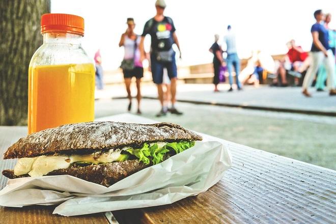 street food sandwich juice people