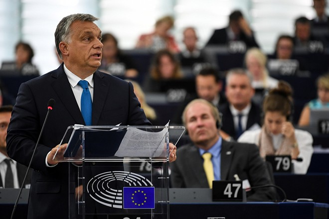 epa07012849 Hungarian Prime Minister Viktor Orban delivers his speech at the plenary session at the European Parliament in Strasbourg, France, 11 September 2018. In the afternoon, the European Parliament is debating a report by Greens MP Judith Sargentini. Among other things, the government in Budapest is accused to curtail the rights of minorities, dissenters and journalists, damage the independence of the judiciary and restrict religious freedom.  EPA/PATRICK SEEGER