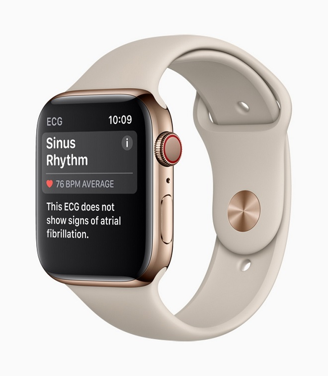 epa07015459 A handout photo made available by Apple Inc. shows the Apple Watch Series 4 introduced at the Apple Special Event at the Steve Jobs Theater in Cupertino, California, USA, 12 September 2018.  EPA/APPLE INC. / HANDOUT Mandatory credit: Courtesy of Apple Inc. HANDOUT EDITORIAL USE ONLY/NO SALES