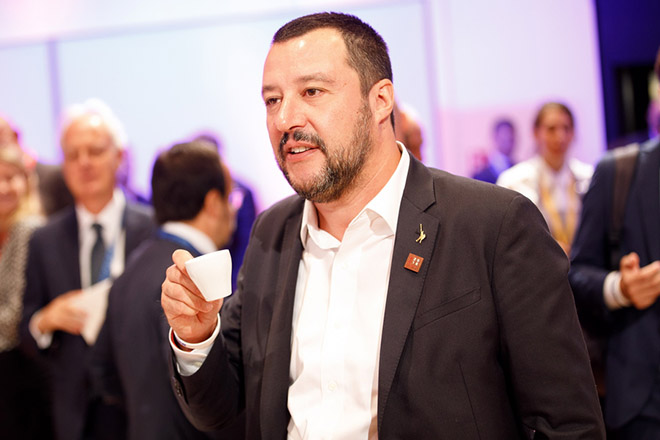 epa07018947 Italian Interior Minister Matteo Salvini during an EU conference on security and migration at the Austria Center Vienna (ACV) in Vienna, Austria, 14 September 2018. Austria hosts a two-day EU conference on security and migration in Vienna, 13 and 14 September. Austria took over its third Presidency of the European Council from July 2018 until December 2018.  EPA/FLORIAN WIESER