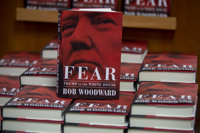 epa07012819 Washington Post journalist Bob Woodward's 'Fear, Trump in the White House' new books are on display at Politics and Prose in Washington, DC, USA, 11 September 2018. The new book by famous journalist and author Bob Woodward, who with Carl Bernstein wrote a book on President's Nixon administration and Watergate scandal, is claiming that President's Trump White House administration is dysfunctional.  EPA/TASOS KATOPODIS