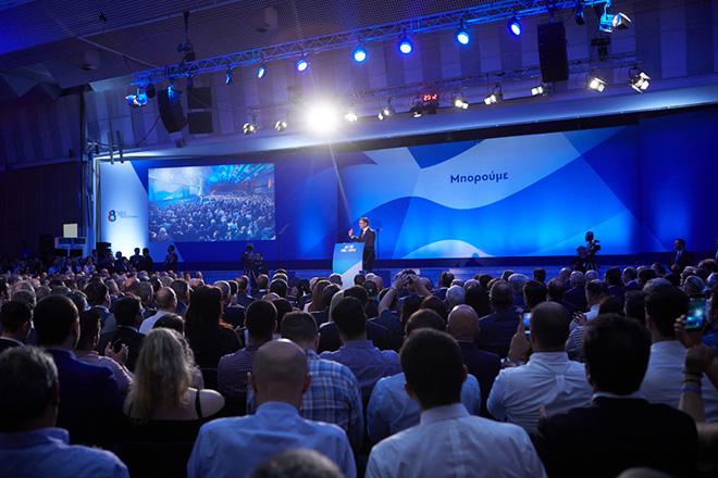 Ο πρόεδρος της Νέας Δημοκρατίας, Κυριάκος Μητσοτάκης κατά τη διάρκεια της καθιερωμένης ομιλίας του στο πλαίσιο της 83ης Διεθνούς Έκθεσης Θεσσαλονίκης, το Σάββατο 15 Σεπτεμβρίου 2018, στο Συνεδριακό Κέντρο «Ιωάννης Βελλίδης».  ΑΠΕ-ΜΠΕ/ΓΡΑΦΕΙΟ ΤΥΠΟΥ ΝΔ/ΔΗΜΗΤΡΗΣ  ΠΑΠΑΜΗΤΣΟΣ