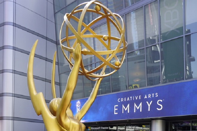 epa07007068 A giant Emmy award statue is placed in front of the Microsoft Theater where the arrivals for the 2018 Creative Arts Emmy Awards will take place in Los Angeles, California, USA, 08 September 2018. The Creative Arts Emmy Awards honor excellence in Television technical categories such as makeup, casting direction, costume design, editing and cinematography. The 70th Primetime Emmy Awards Ceremony will take place on 17 September 2018.  EPA/NINA PROMMER
