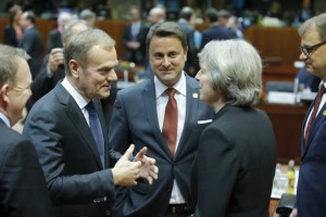 epa05676616 (CL-R) EU Council President Donald Tusk, Luxembourg's Prime Minister Xavier Bettel and Britain's Prime Minister Theresa May chat prior to the start of an European Summit in Brussels, Belgium, 15 December 2016. Others are not identified. EU leaders meet for a one-day summit which will mainly focus on the implementation of the EU-Turkey agreement on migration and the EU Internal Security Strategy. The 27 leaders are later the same day scheduled to meet informally for a dinner to discuss the Brexit process.  EPA/OLIVIER HOSLET
