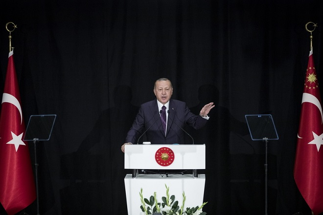epa07029504 Turkish President Recep Tayyip Erdogan speaks during a ceremony marking the beginning of new academic year at Kabatas High School in Istanbul, Turkey, 18 September 2018.  EPA/ERDEM SAHIN