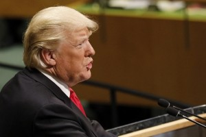 epa07045998 US President Donald Trump addresses the General Debate of the General Assembly of the United Nations at United Nations Headquarters in New York, New York, USA, 25 September 2018. The General Debate of the 73rd session begins on 25 September 2018.  EPA/PETER FOLEY