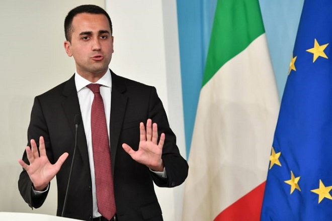 "Italys Labor and Industry Minister and deputy PM Luigi Di Maio, answers to journalists during a press conference on the theme ""Dignity Decree"", after the approval of the Council of Ministers held yesterday, at Palazzo Chigi in Rome on July 3, 2018. (Photo by Andreas SOLARO / AFP)        (Photo credit should read ANDREAS SOLARO/AFP/Getty Images)"