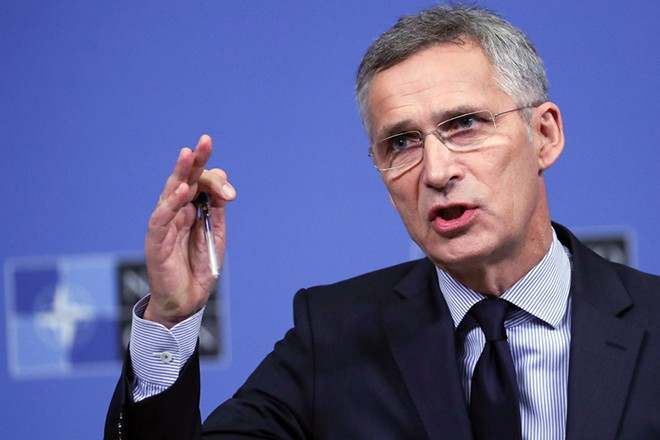 epa07063124 NATO Secretary General Jens Stoltenberg  gives a press conference on the eve of a NATO Defense Ministers Council meeting in Brussels, Belgium, 02 October 2018. NATO Defense Ministers gather for a two-days council starting on 03 October.  EPA/OLIVIER HOSLET