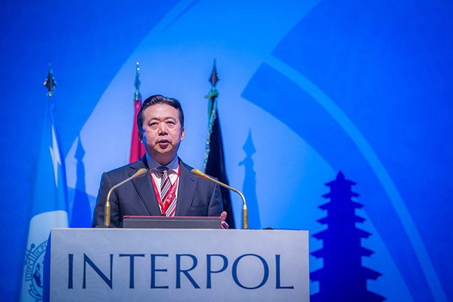 epa05625263 A handout photograph made available on 10 November 2016 by Interpol showing China's Meng Hongwei elected President of INTERPOL speaking in Bali, Indonesia. Delegates at INTERPOL's 85th General Assembly have elected Meng Hongwei of China as the new of President of INTERPOL. INTERPOL states that Meng Hongwei, China's Vice Minister of Public Security, who will take up his duties with immediate effect, said as a veteran policeman he stood ready to do everything he could towards the cause of policing in the world.  EPA/INTERPOL / HANDOUT  HANDOUT EDITORIAL USE ONLY/NO SALES