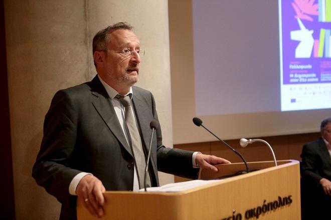 Ο Γάλλος Πρέσβης στην Αθήνα Κριστόφ Σαντεπί μιλά σε  συνέντευξη τύπου για την 15η Διεθνή Έκθεση Βιβλίου Θεσσαλονίκης , Τετάρτη 25 Απριλίου 2018. Στο αμφιθέατρο του Μουσείου Ακρόπολης πραγματοποιήθηκε συνέντευξη τύπου της 15ης  ΔΕΒΘ με ομιλητές τους : Ηλία Νικολακόπουλο (αντιπρόεδρο του Ελληνικού Ιδρύματος Μείζονος Πολιτισμού), Μανώλη Πιμπλή (διευθυντή της Έκθεσης Βιβλίου), ναστάσιο Τζήκα ,( πρόεδρο ΔΕΘ) , Ελλη Χρυσίδου( αντιδήμαρχο Πολιτισμού κι Τεχνών Δήμου Θεσσαλονίκης) και για την τιμώμενη Γαλλοφωνία οι Μικαέλ Οτσάμπ και Φιλίπ Ρέι από την γαλλική πρεσβεία. ΑΠΕ-ΜΠΕ/ΑΠΕ-ΜΠΕ/Παντελής Σαίτας