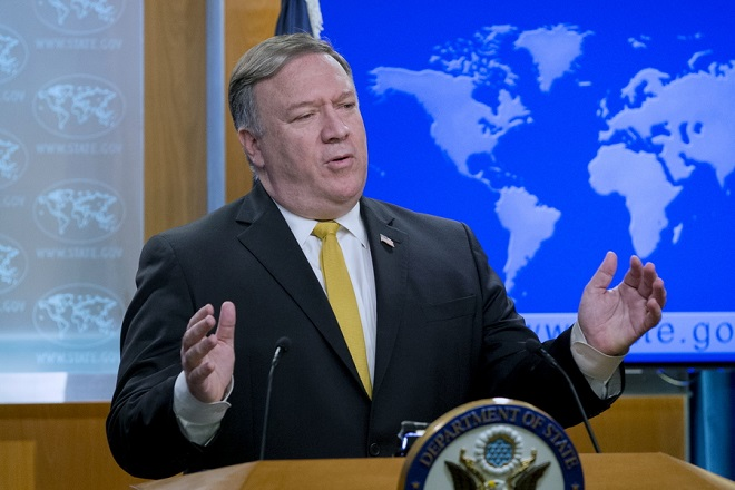 epa07066618 US Secretary of State Mike Pompeo speaks during a news conference at the State Department in Washington, DC, USA, 03 October 2018. Pompeo announced that the US is canceling a 1955 treaty with Iran on economic relations and consular rights.  EPA/MICHAEL REYNOLDS