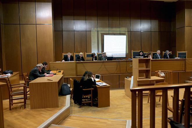 """Ξεκίνησε η προβολη των """" αναγνωστέων""""΄εγγράφων στην δίκη μελών της Χρυσής Αυγής , Πέμπτη  8  Φεβρουαρίου 2018. Συνεχίζεται στο Εφετείο Αθηνών η δίκη της ηγεσίας και μελών της Χρυσής Αυγής. ΑΠΕ-ΜΠΕ/ΑΠΕ-ΜΠΕ/Παντελής Σαίτας"""